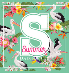 hello summer design with tropical plants and birds vector image