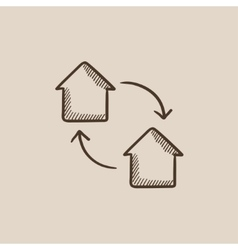 House exchange sketch icon vector image