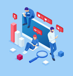 Isometric thumbs up like social network concept vector