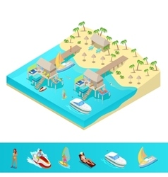 Isometric Tropical Beach Vacation Resort vector image