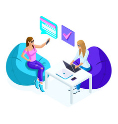 isometrics young girls while working one worki vector image