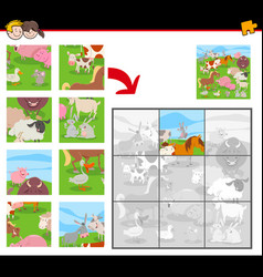 Jigsaw puzzles with farm animals group vector