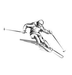line sketch skier vector image