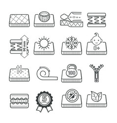 lineart icons mattress pillow features vector image