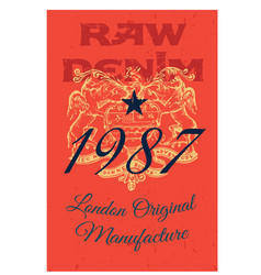 london original manufacture clothing tag vector image