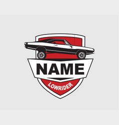 low rider car label american muscle vintage vector image