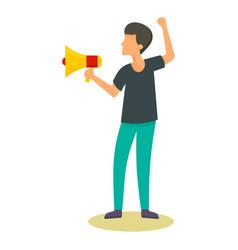 man speak in megaphone icon flat style vector image