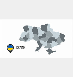 map ukraine with divisions isolated on white vector image