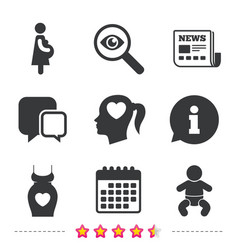maternity icons baby infant pregnancy dress vector image
