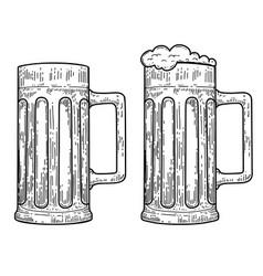 mug beer in engraving style design element for vector image