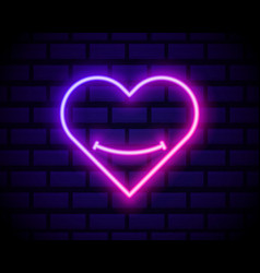 neon emoji heart glowing sign heart with smile vector image