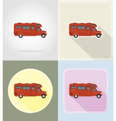Old retro transport flat icons 12 vector