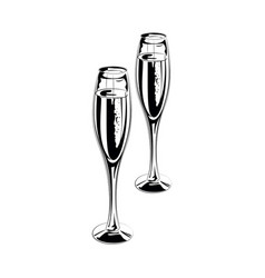 pair champagne glasses vector image