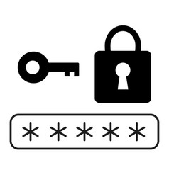 Password security icon on white background flat vector