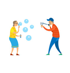 pensioners with catapult and soap bubbles vector image