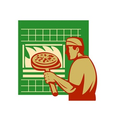 Pizza pie maker or baker holding baking pan oven vector