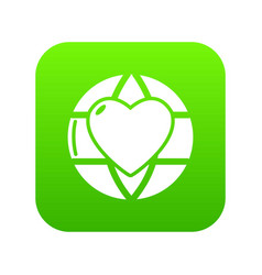 planet heart icon green vector image