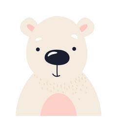 polar bear cute animal baface vector image