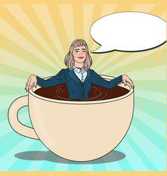 pop art business woman relaxing in coffee cup vector image