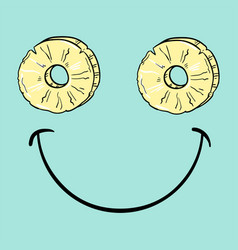 Positive smiley with slice of pineapple vector