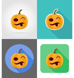 pumpkins for halloween flat icons 14 vector image