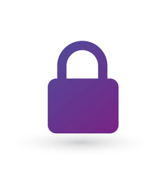 purple gradient simple lock icon with place for vector image