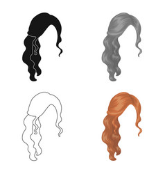 Red wavyback hairstyle single icon in cartoon vector