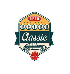Retro classic car wash logo open 24 7 auto vector