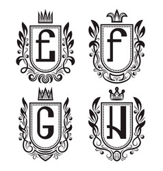 royal coat of arms set e f g h monogram vector image