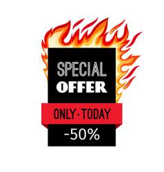 sale fire frame label vector image