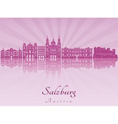 Salzburg skyline in purple radiant orchid vector image