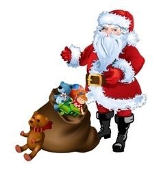 Santa Claus standing with a bag full of gifts and vector image