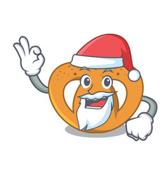 santa pretzel mascot cartoon style vector image