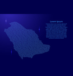 Saudi arabia map abstract schematic from blue vector
