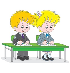 Schoolchildren writing vector image