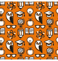 seamless pattern in flat style with education icon vector image