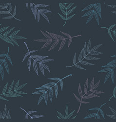 Seamless pattern of leaves mountain ash in pastel vector