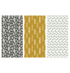 Seamless patterns with leaves and foliage vector