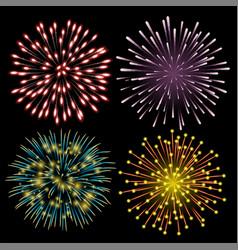 Set colorful fireworks vector