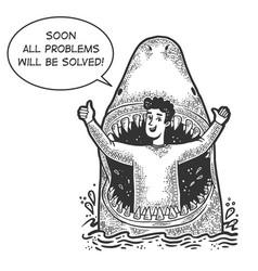 shark eat optimistic man sketch vector image