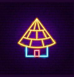 small building neon sign vector image
