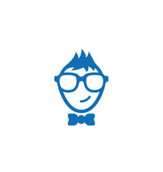 Smiling geek face wearing glasses and tie logo vector