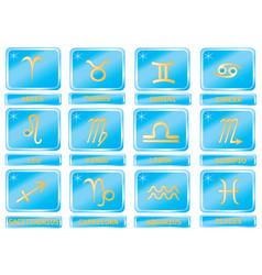 symbols twelve zodiac with names vector image