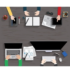 Table Working Businees Meeting High Angle View vector