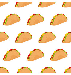 taco seamless pattern isolated on white background vector image