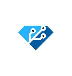 technology diamond logo icon design vector image