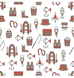 thin line art fishing seamless pattern vector image