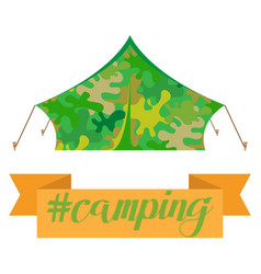 Tourist camping tent house camouflage isolated on vector