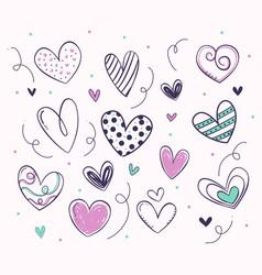 variety cute hearts set vector image