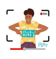 video blogger making livestream vector image